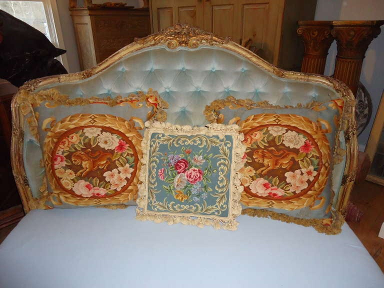20th Century Antique Carved Wooden French Bed For Sale