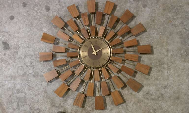 mid century modern starburst wall clock at 1stdibs