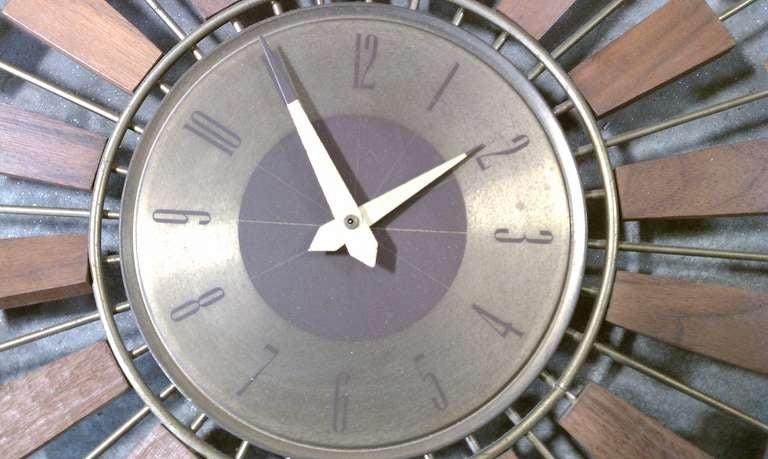 mid century modern starburst wall clock at 1stdibs