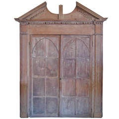 Early Gothic Oak Corner Cupboard