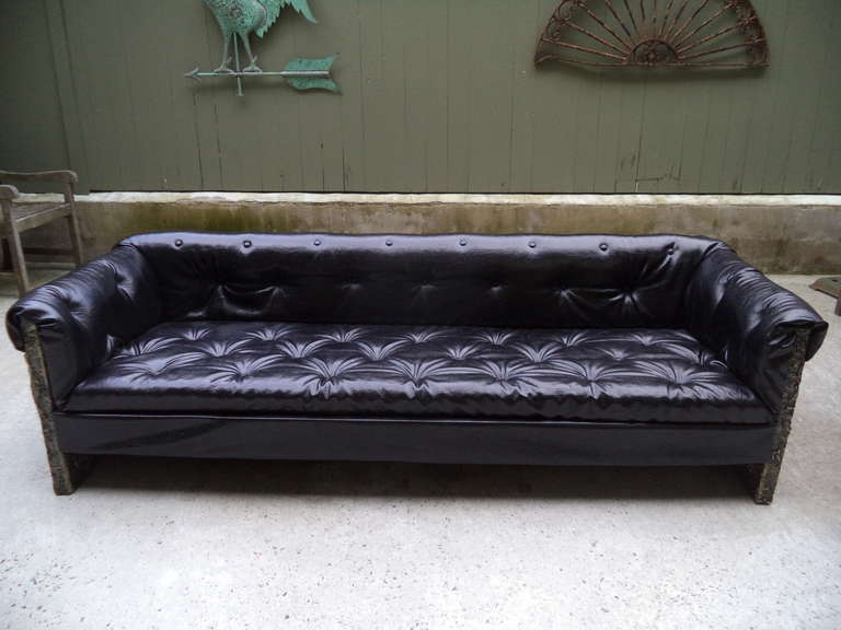 Adrian Pearsall Brutalist Sofa For Craft Associates . This Tufted Black  Vinyl Sofa Has Carved Geometric