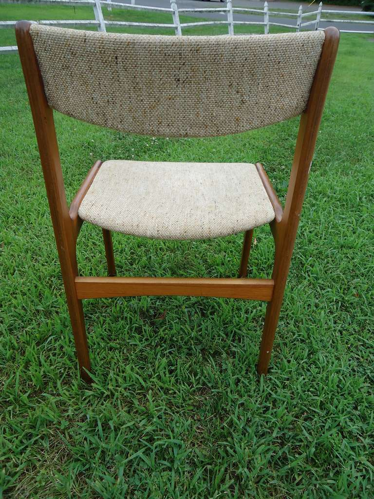 Set of 6 mid century modern danish upholstered chairs at for Mid century modern upholstered chair