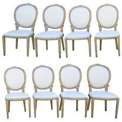 Set of Eight French Louis XVI Style Dining Chairs