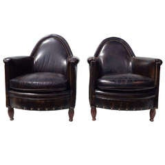 Pair of Bradington Young Leather Club Chairs