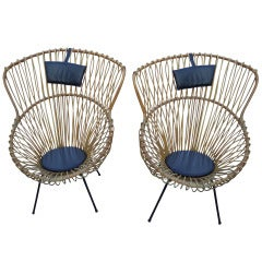 Pair Of Rattan Bucket Chairs By Franco Albini For Vittorio