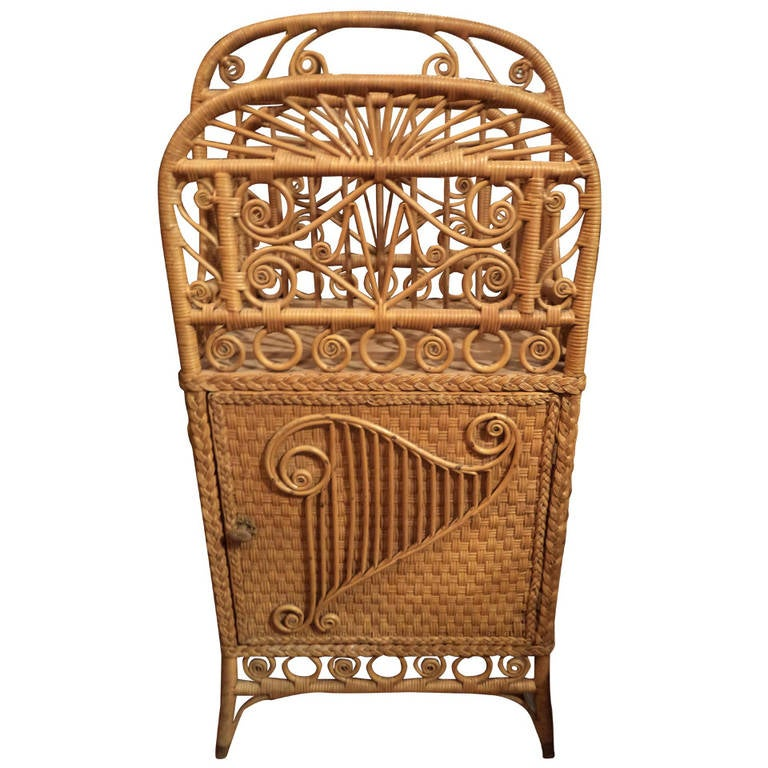 Victorian Wicker Magazine Rack / Music Stand