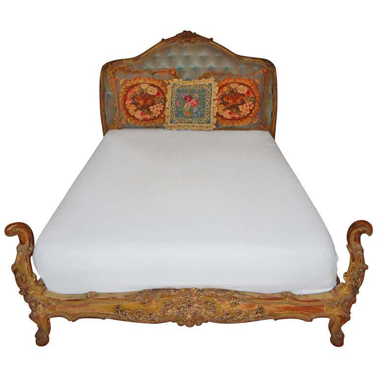 Antique Carved Wooden French Bed 1