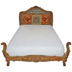 Antique Carved Wooden French Bed with Tufted Headboard
