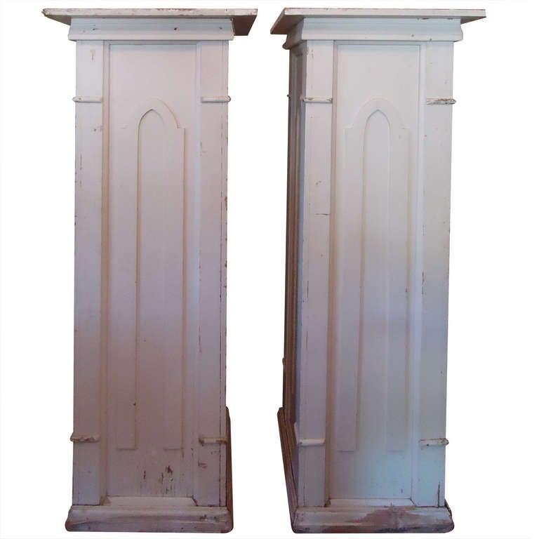 Pair of Monumental Gothic Columns or Pedestals from a Church