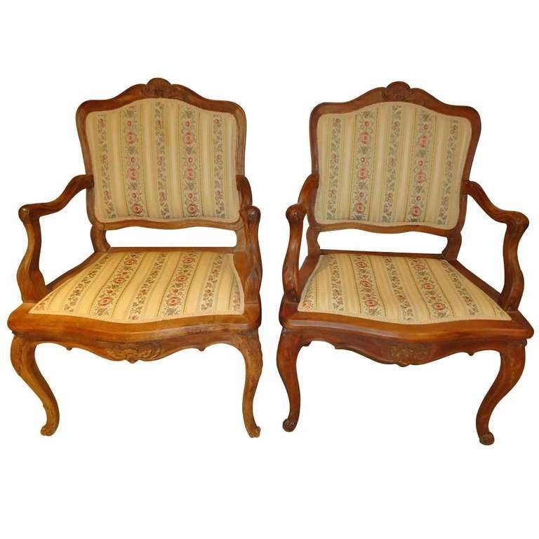 Pair of French Louis XV Style Armchairs For Sale