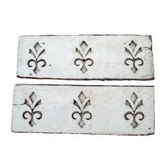 Pair of Antique Architectural Fleur de Lis Carved Panels