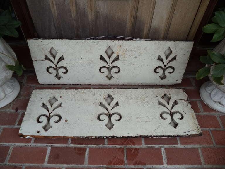 Wood Pair of Antique Architectural Fleur de Lis Carved Panels For Sale