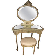 French Hand-Carved and Painted Vanity with Stool