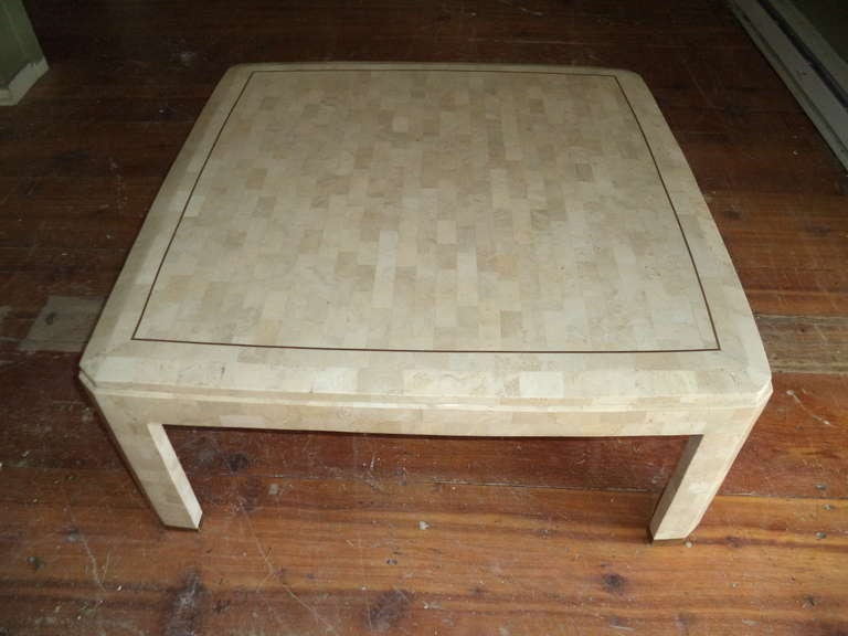 Maitland smith tessellated fossil square coffee table at for Fossil coffee table