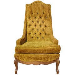 hollywood regency tufted throne armchair