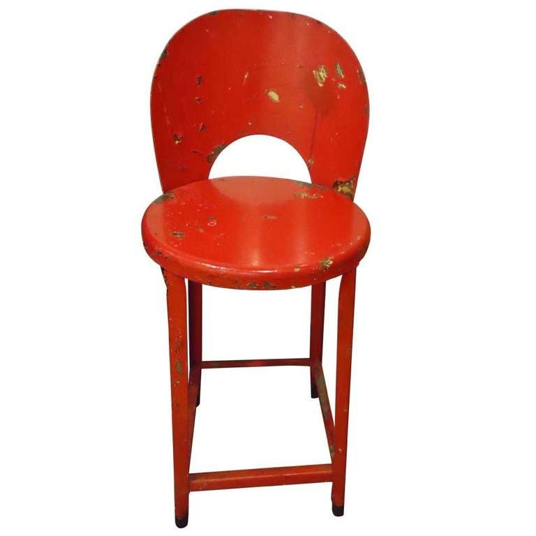 Red Industrial Stool At 1stdibs