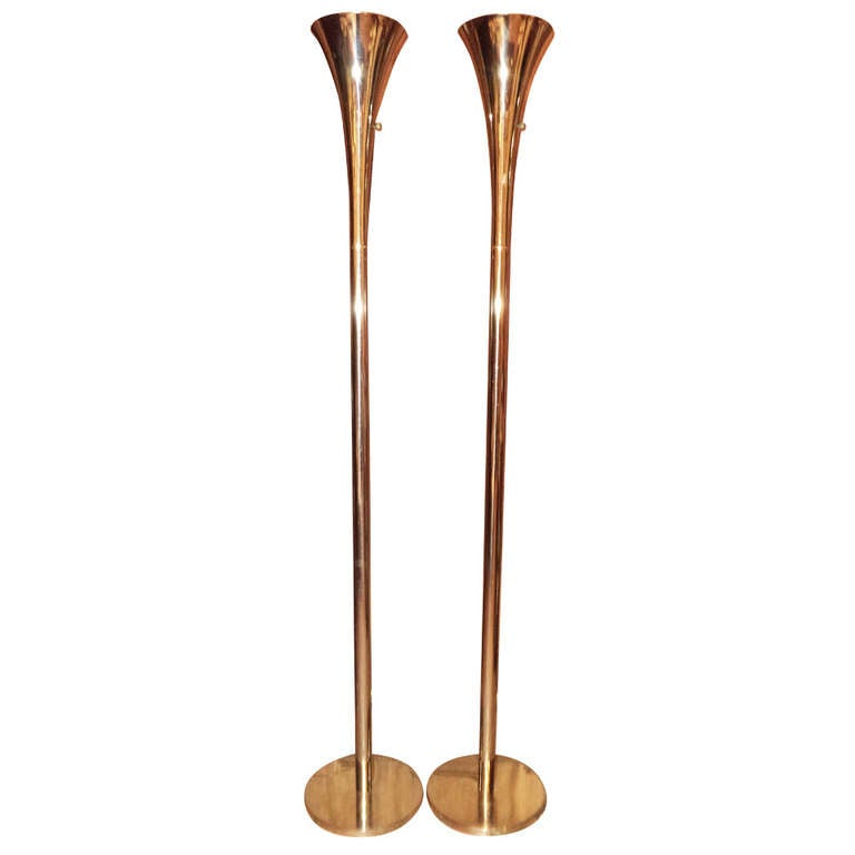 Pair of brass torchiere floor lamps by laurel lamp company for pair of brass torchiere floor lamps by laurel lamp company for sale mozeypictures Gallery