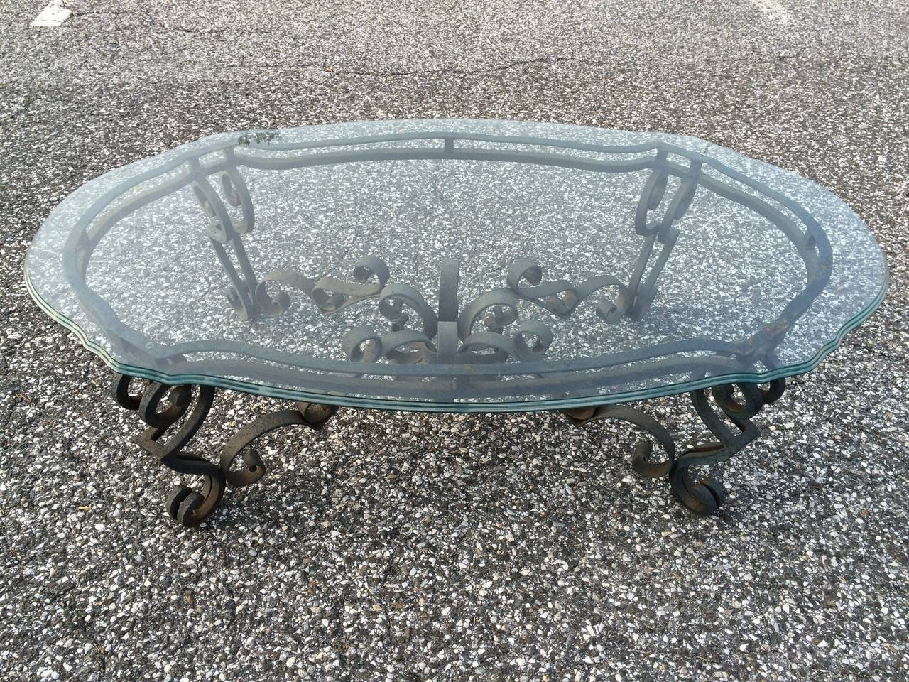 Hand Wrought Iron And Glass Coffee Table At 1stdibs