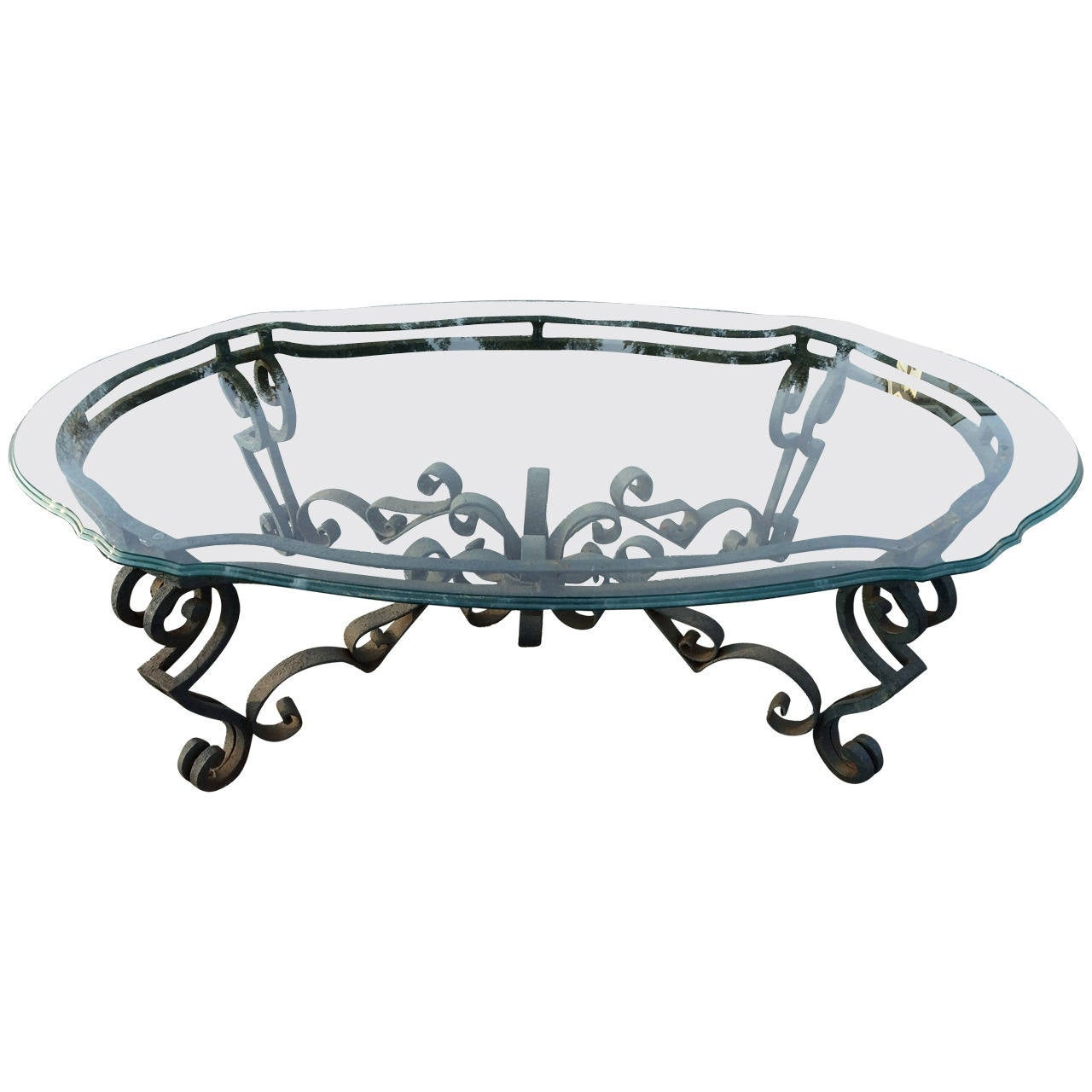 Hand wrought iron and glass coffee table at 1stdibs for Iron and glass coffee table