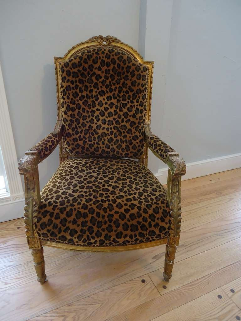 Leopard armchair - Antique French Gilded Leopard Chair 2