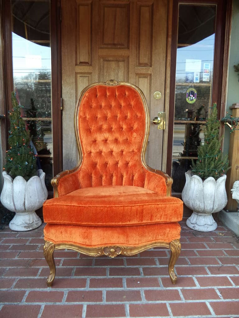 Hollywood Regency Tufted High Back Arm Chair At 1stdibs