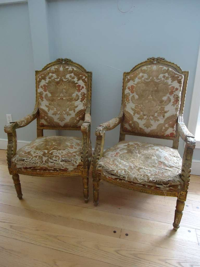 French Pair of Louis XVI Giltwood Fauteuils For Sale