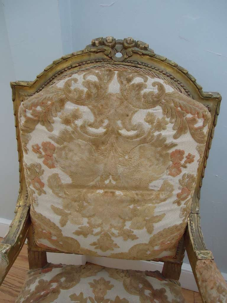 Pair of Louis XVI Giltwood Fauteuils 7