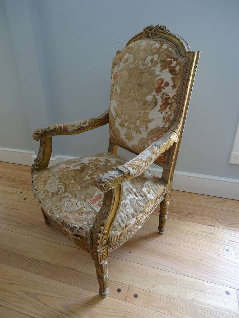 Pair of Louis XVI Giltwood Fauteuils 4