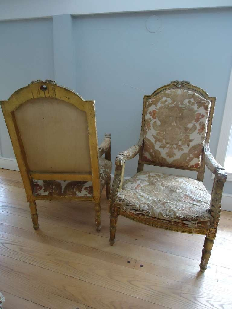 Upholstery Pair of Louis XVI Giltwood Fauteuils For Sale