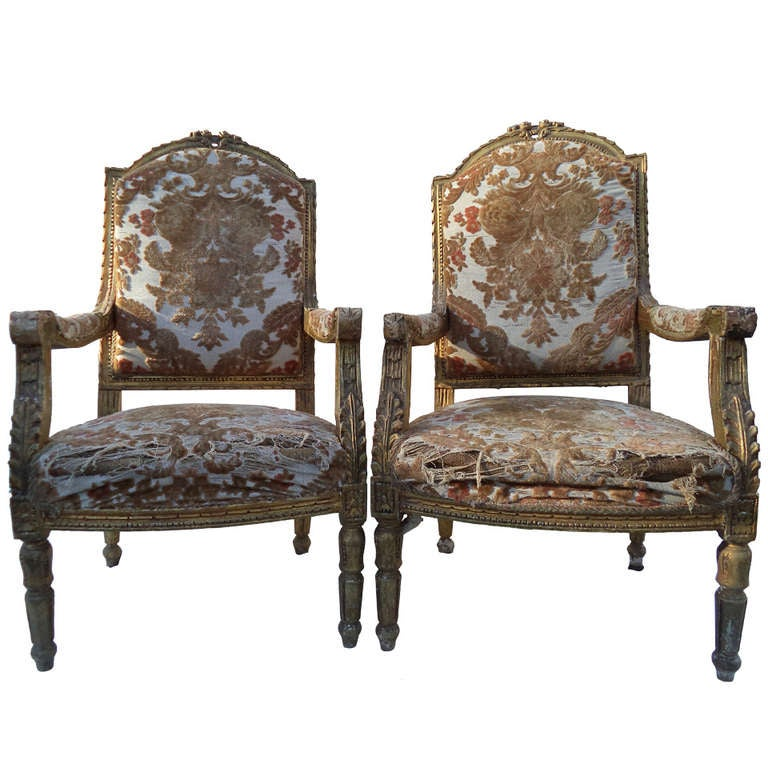 Pair of Louis XVI Giltwood Fauteuils 1