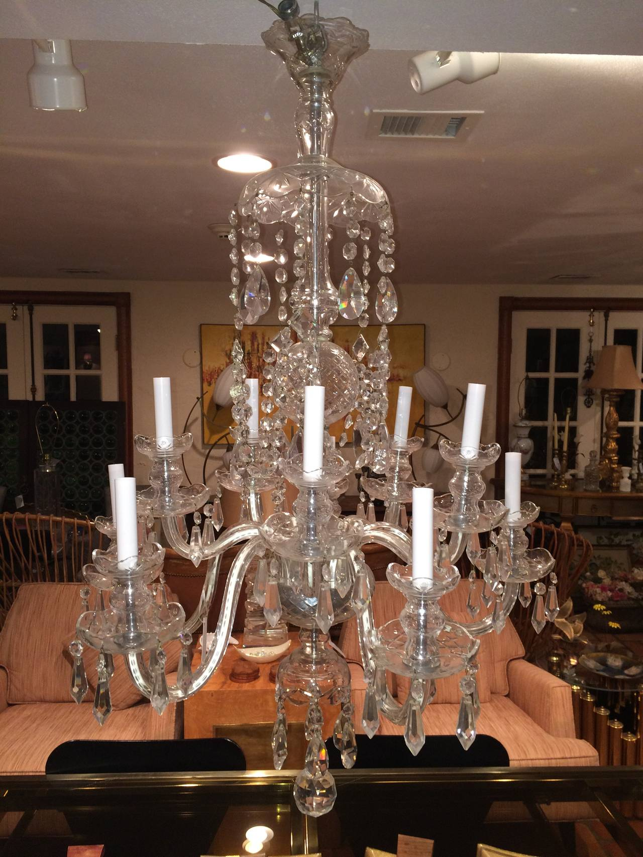 Elegant ten arm crystal chandelier in the style of waterford at 1stdibs irish elegant ten arm crystal chandelier in the style of waterford for sale aloadofball Image collections