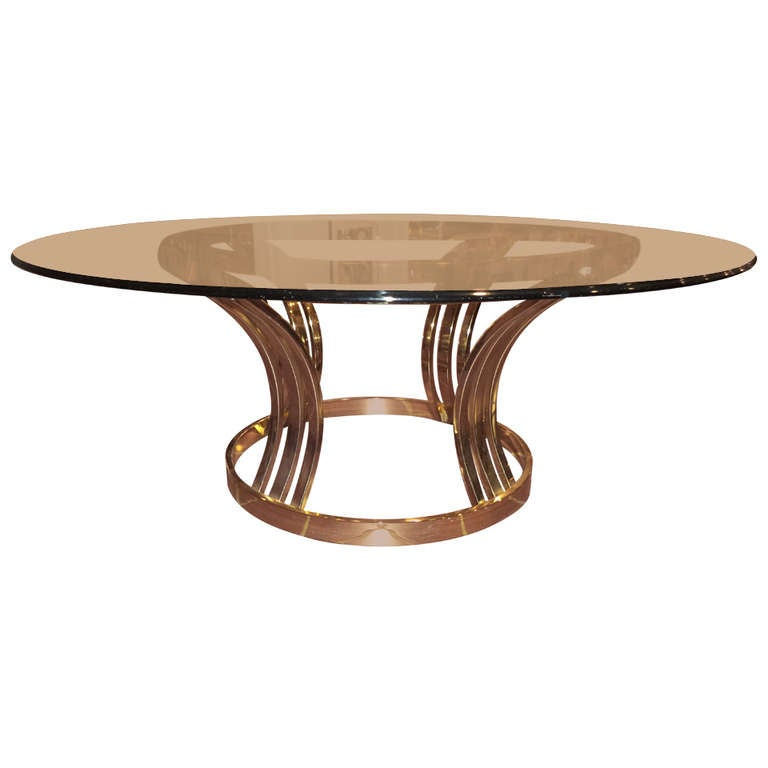 Sculptural brass and glass round coffee table at 1stdibs Brass round coffee table