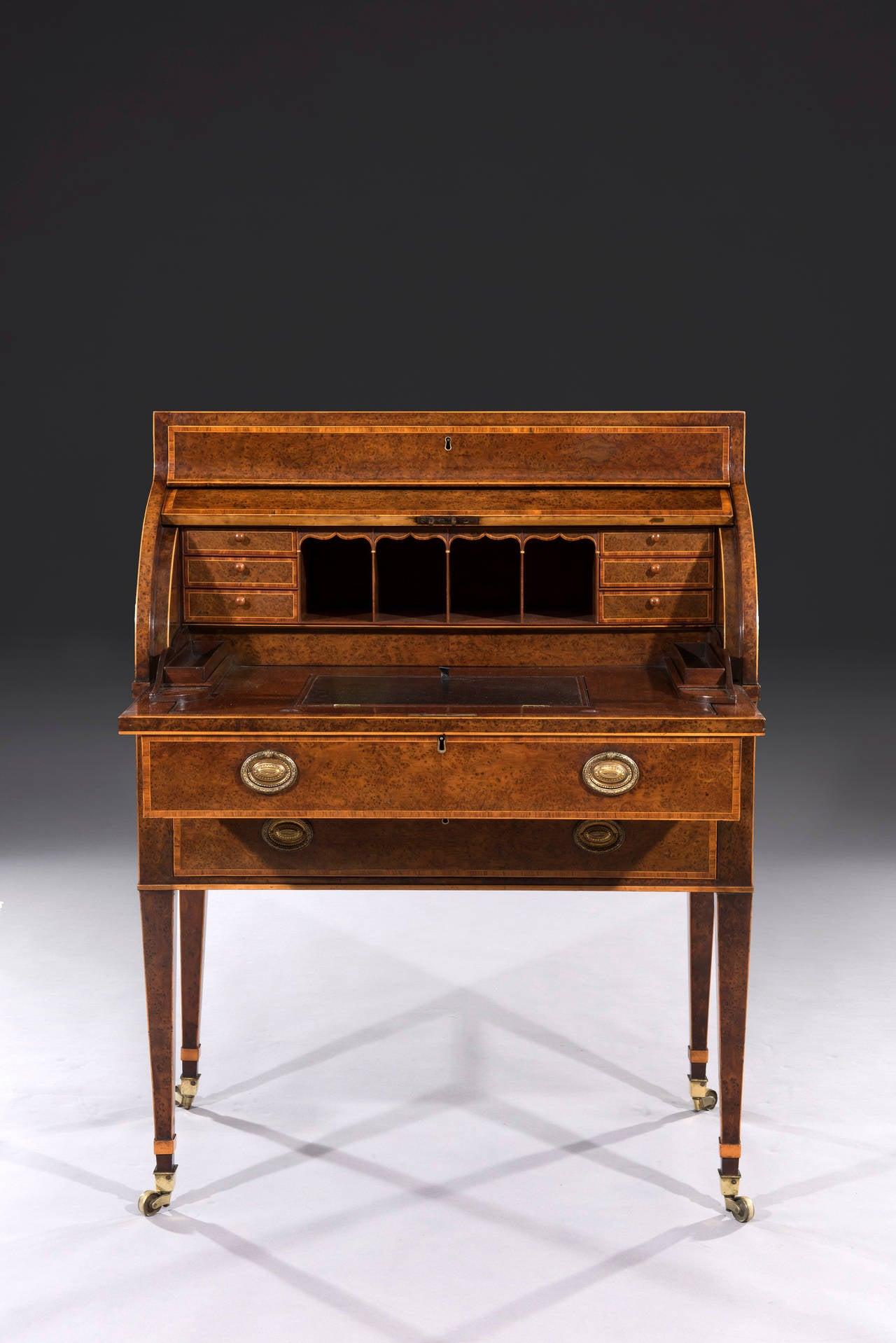 rare sheraton yew wood cylinder bureau cabinet at 1stdibs