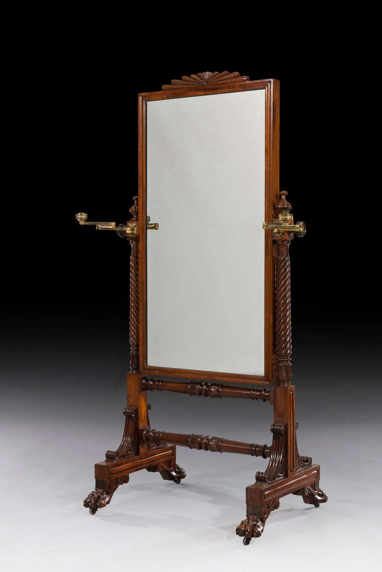 William iv mahogany cheval glass dressing mirror at 1stdibs for Dressing mirror