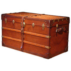 Excellent Late 19th Century Leather Trunk by Hofmann with Brass Fittings