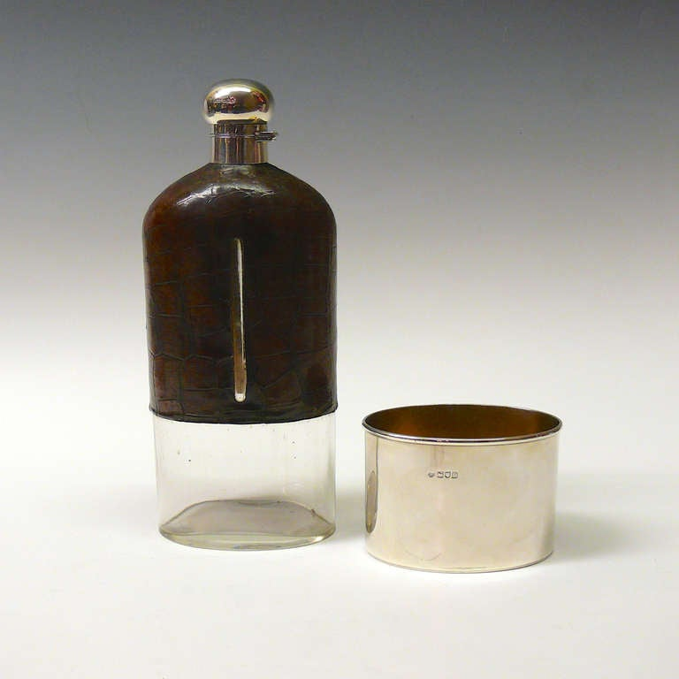 British Very Large Crocodile Skin and Sterling Silver Glass Hip Flask For Sale