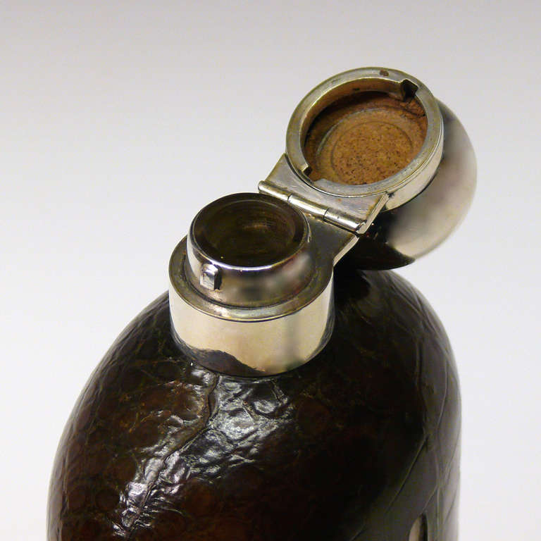 Very Large Crocodile Skin and Sterling Silver Glass Hip Flask In Excellent Condition For Sale In London, GB