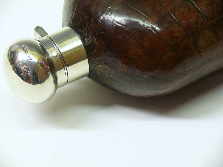 20th Century Very Large Crocodile Skin and Sterling Silver Glass Hip Flask For Sale