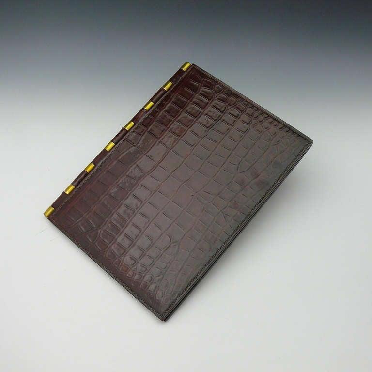 hermes crocodile skin desk set designed by paul dupre. Black Bedroom Furniture Sets. Home Design Ideas