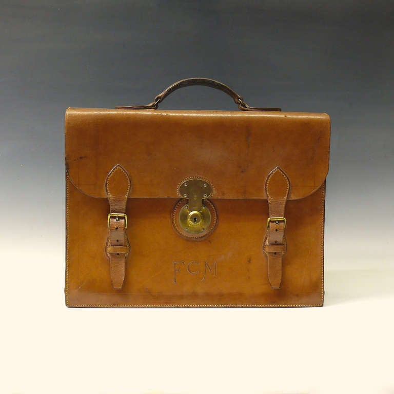 Mid Tan Leather Briefcase 3