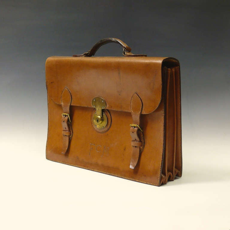 Mid Tan Leather Briefcase 2