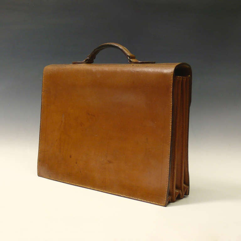 Mid Tan Leather Briefcase 4