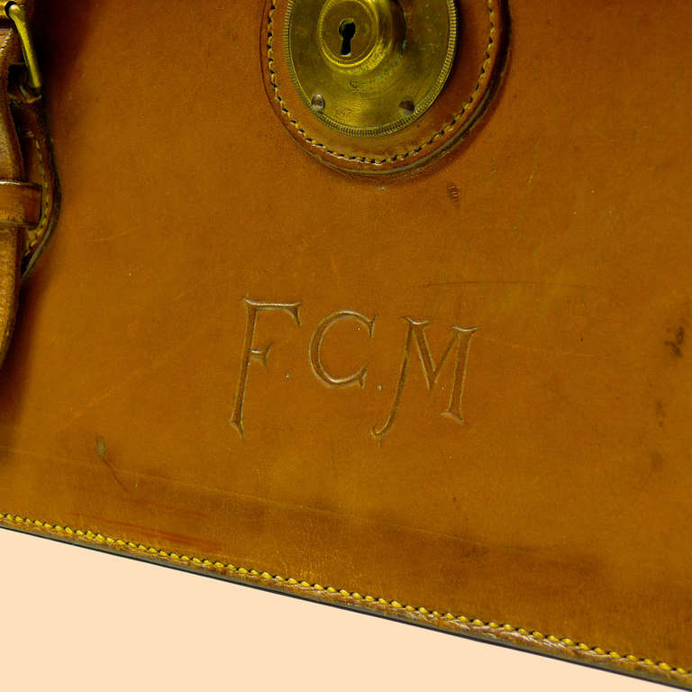 Mid Tan Leather Briefcase 5