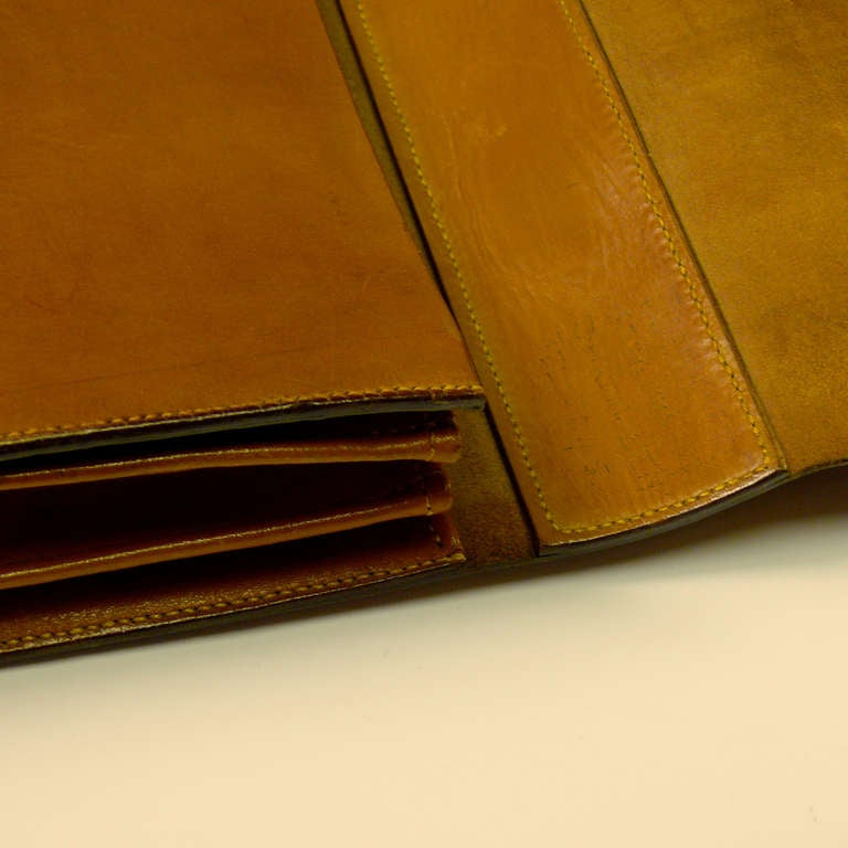 Mid Tan Leather Briefcase 8