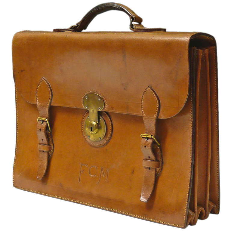 Mid Tan Leather Briefcase 1