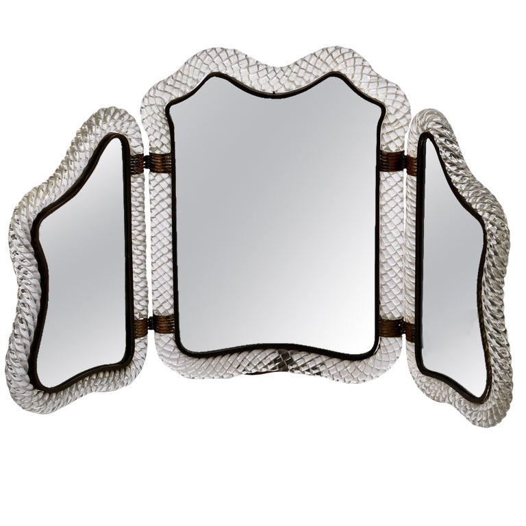 Self Standing Triple Mirror By Ercole Barovier At 1stdibs