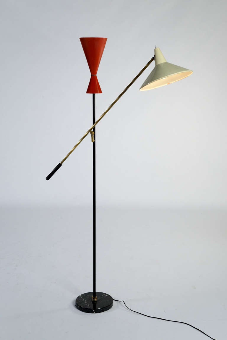 Exquisite '50s double arm floor lamp at 1stdibs
