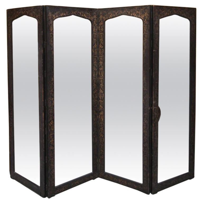 Antique Decorated And Mirrored Dressing Screen At 1stdibs
