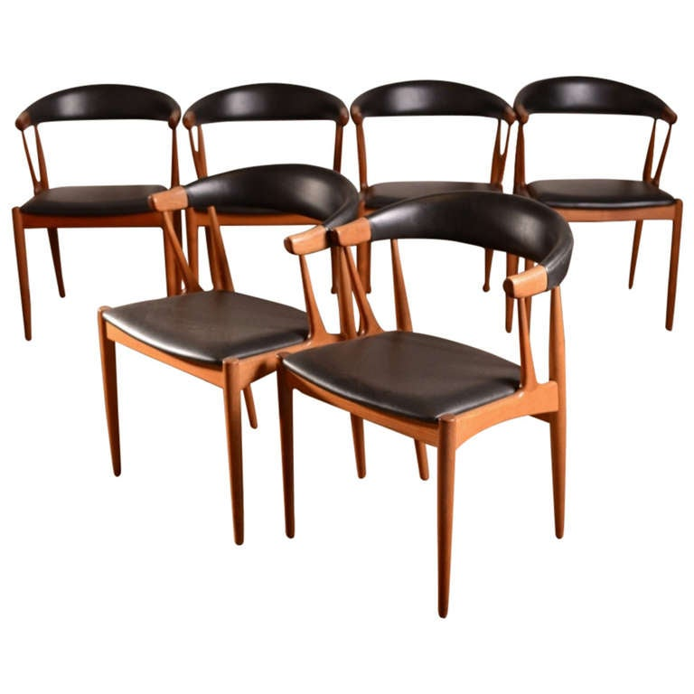 Set Of Six Danish Teak Dining Chairs By Johannes Andersen At 1stdibs