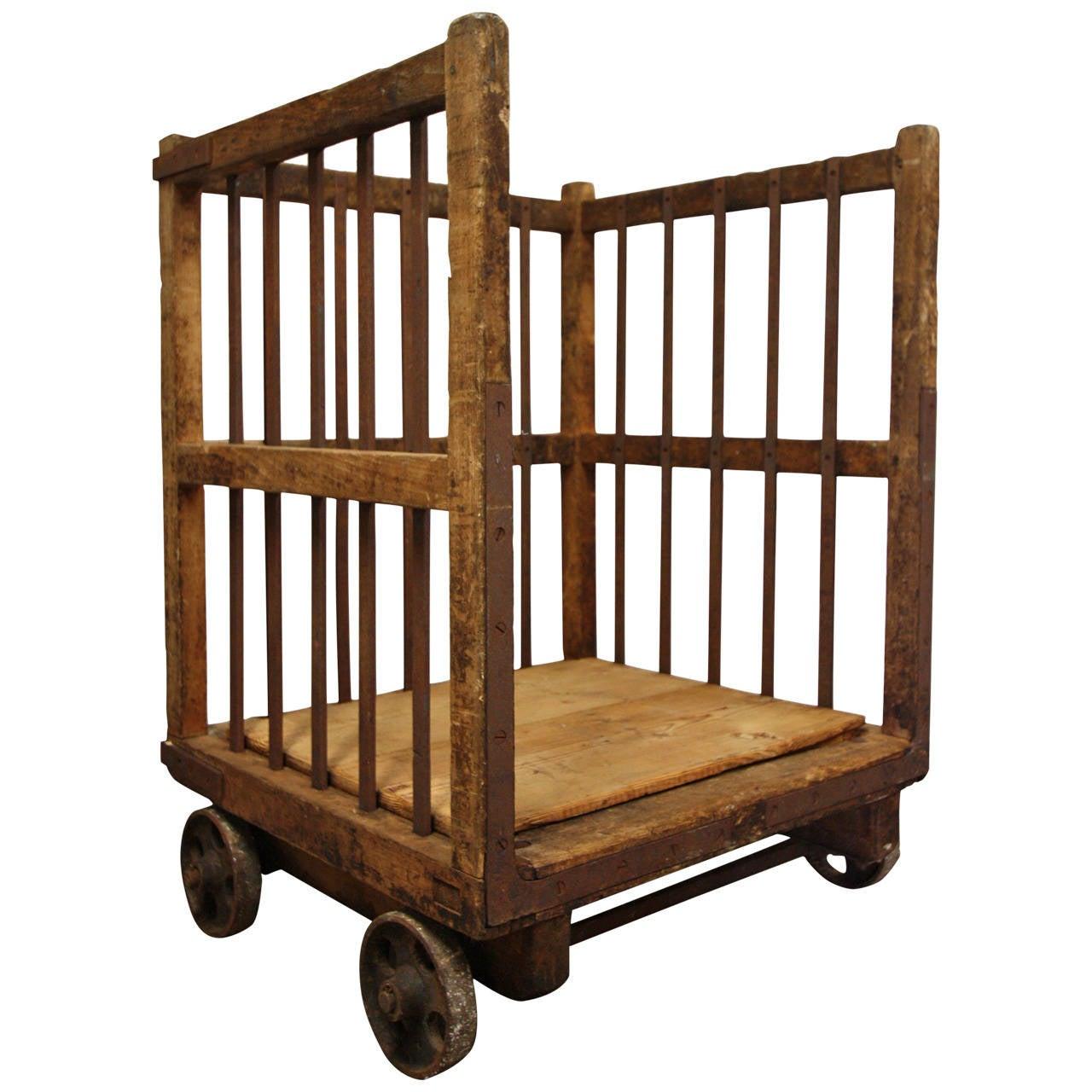 19th Century English Antique Pine Cart On Wheels At 1stdibs